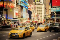 Yellow taxis in New York City, selective focus — Stock Photo