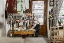 Carpenter in workshop, selective focus — Stock Photo