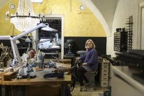 Goldsmith in workshop, selective focus — Stock Photo