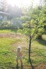 Девушка на газоне за деревьями, избирательный фокус — стоковое фото