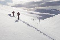 Men skiing, selective focus — Stock Photo