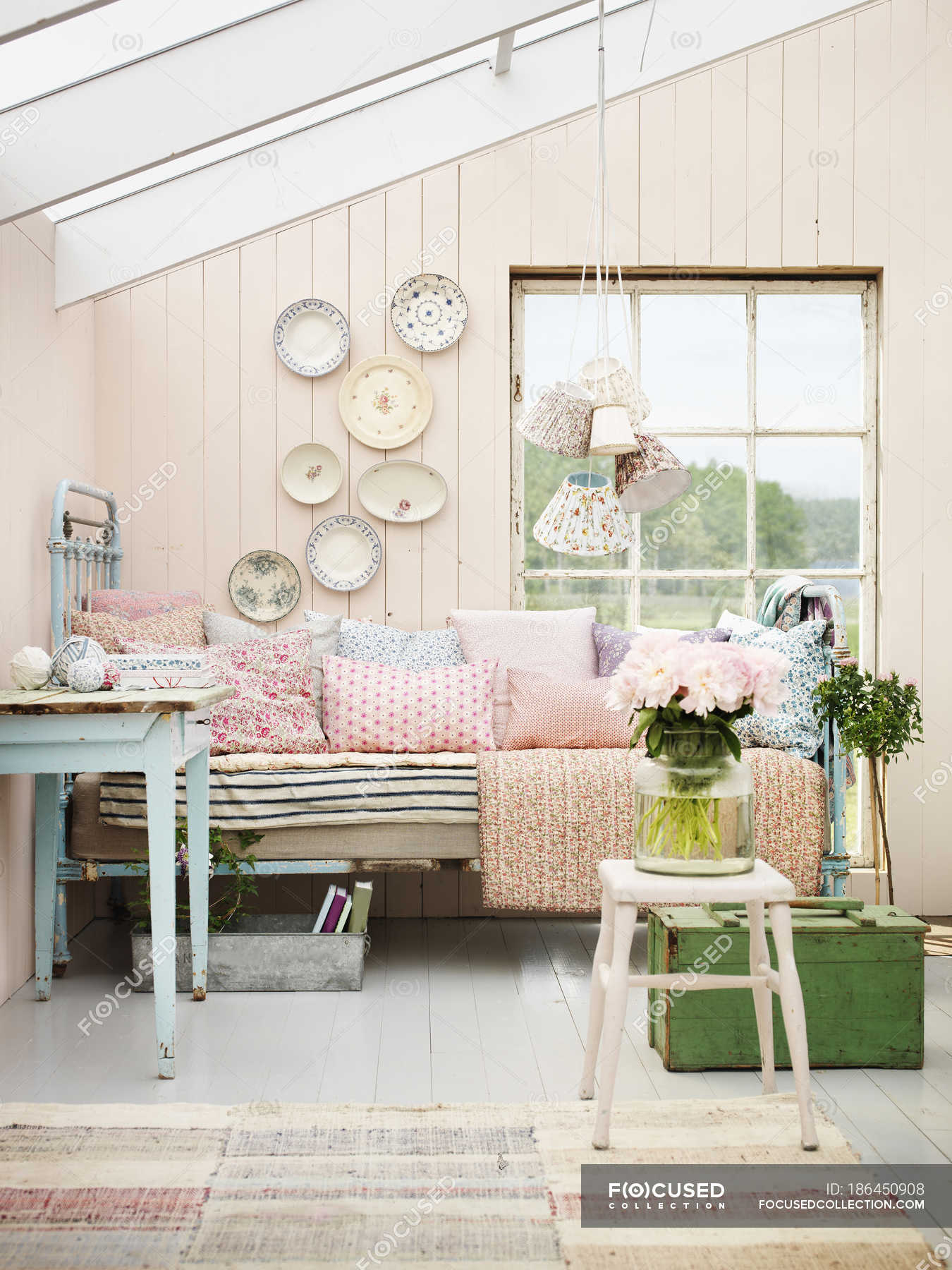 Pastel Colored Interior Of Country Home