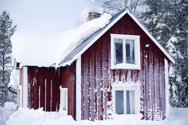 Casa de madeira vermelha coberta com gelo — Fotografia de Stock