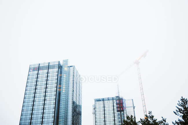 Bottom view of skyscrapers and crane in fog — Stock Photo