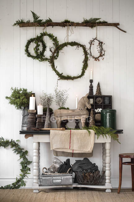 Front view of christmas decoration living room — Stock Photo