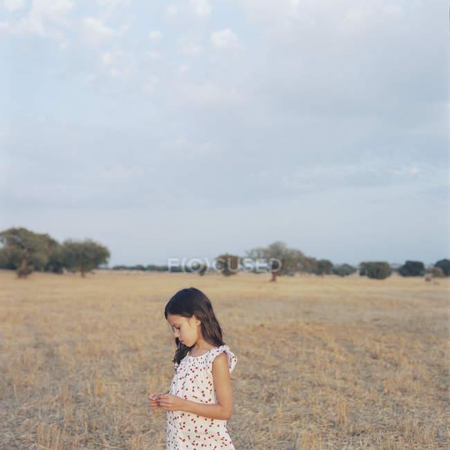 Vue de face de la fille en robe blanche au champ — Photo de stock