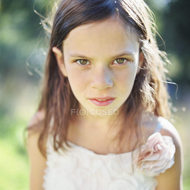 Front view of girl looking at camera — Stock Photo