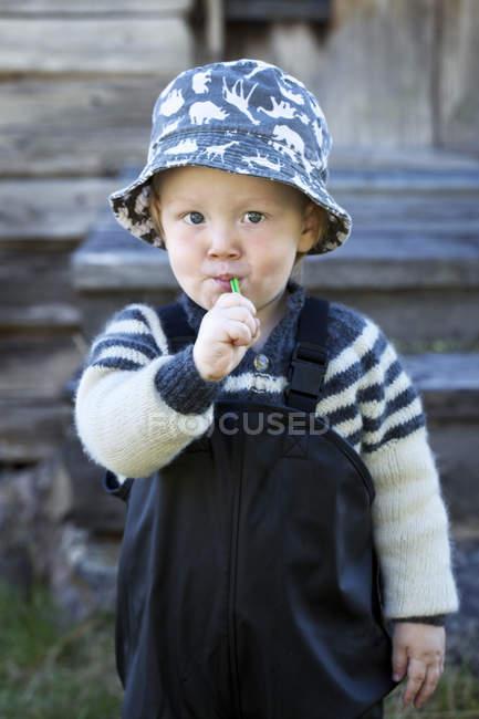 Vorderansicht eines jungen mit Zahnbürste im Mund — Stockfoto