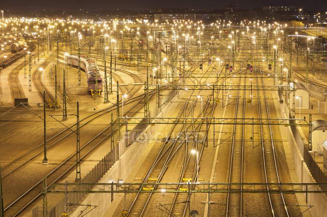 Vista elevada da Estação Central de Malmö à noite — Fotografia de Stock