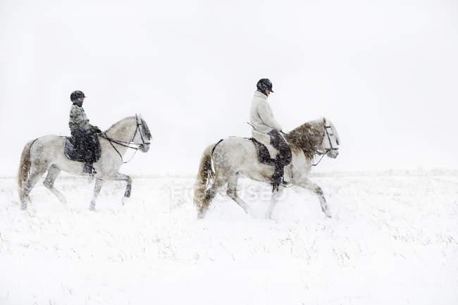 Adolescente menina equitação cavalo com a mãe — Fotografia de Stock