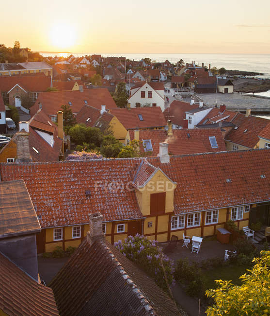 Bornholm houses roofs with Baltic sea in background — Stock Photo