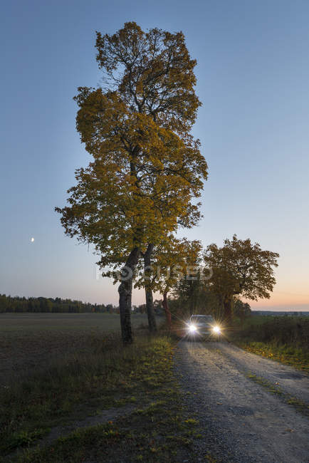 Car with turned lights on dirt road — Stock Photo