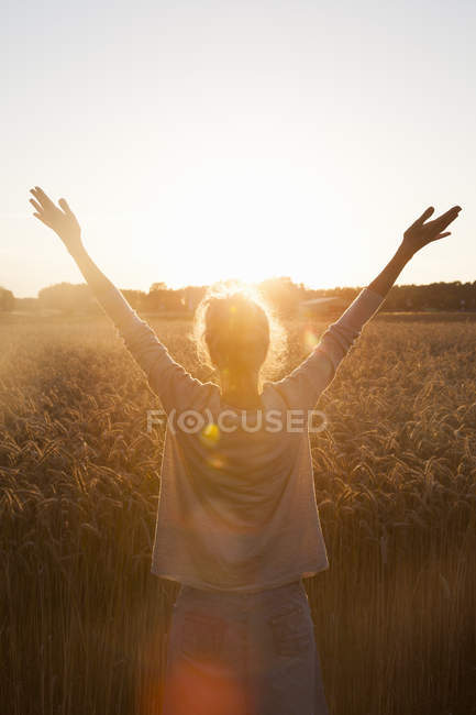 Rear view of woman raising arms in field at sunset — Stock Photo