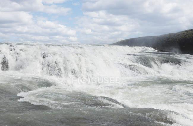 Flowing water of Gullforsen waterfall in Iceland — Stock Photo
