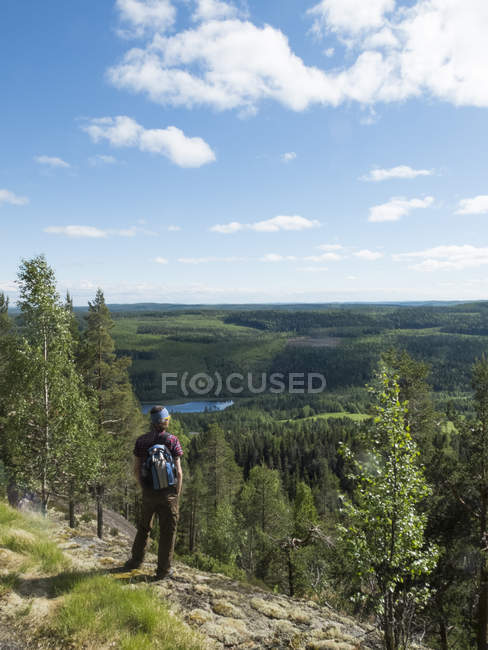 Vista traseira do alpinista olhando a paisagem — Fotografia de Stock