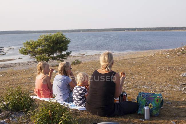 Rear view of family having picnic at beach — Stock Photo