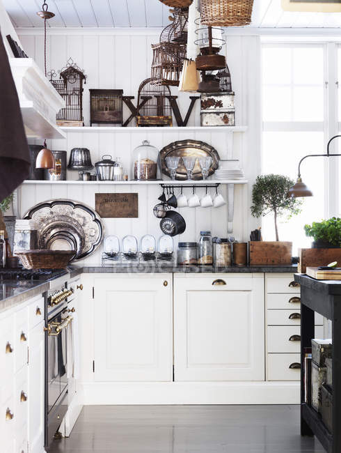 Old-fashioned kitchen interior in country home — Stock Photo