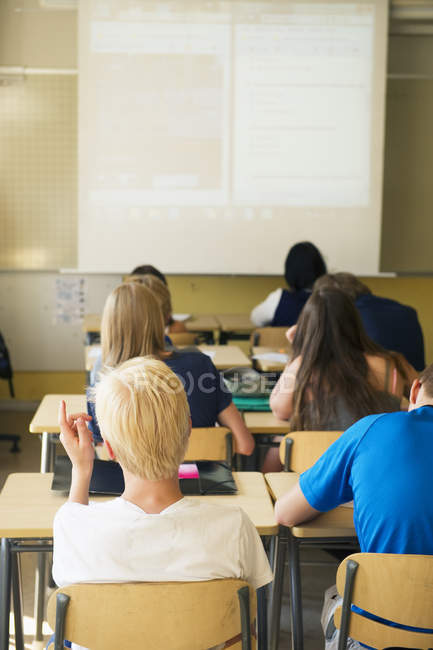 Rückansicht von Jugendlichen im Klassenzimmer — Stockfoto