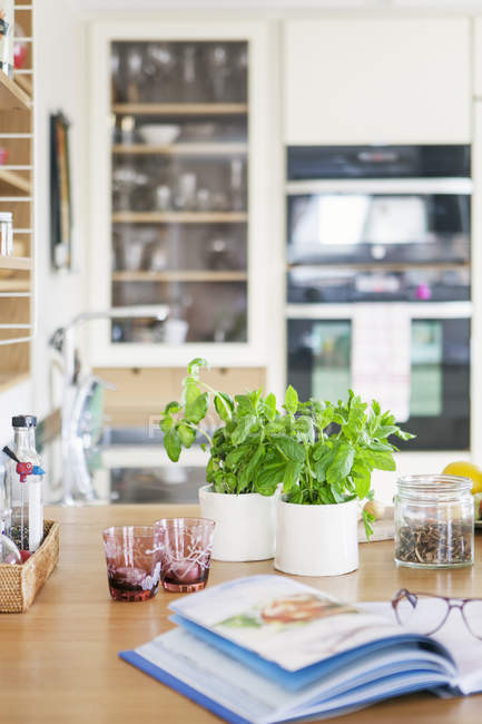 Herbs and cookbook on table in kitchen — Stock Photo