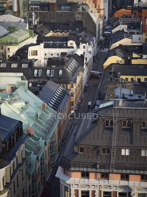 Elevated view of buildings rooftops in Stockholm — Stock Photo