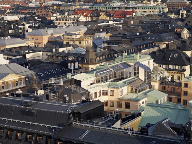 Erhöhter Blick auf die Hausdächer in Stockholm — Stockfoto