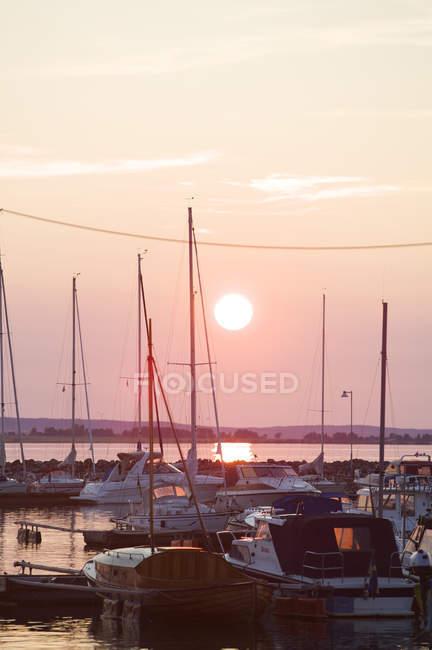 Вид лотов, стоящих на якоре яхт на закате — стоковое фото