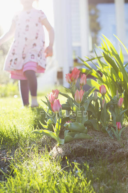 Girl in domestic garden, focus on foreground — Stock Photo