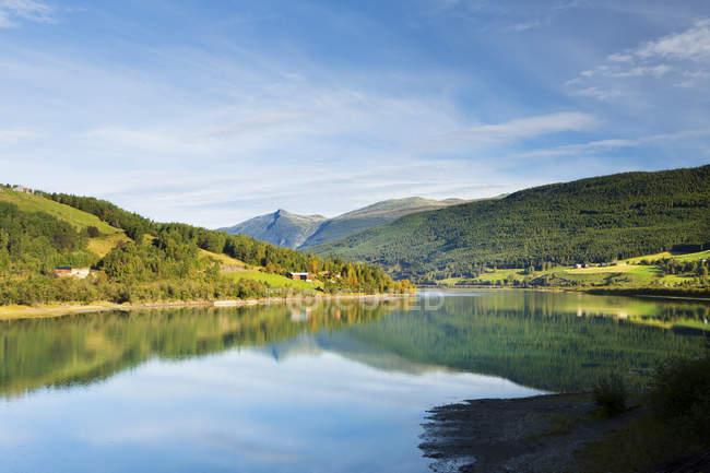 Живописный вид на озеро и лес на Гудбрандсдален, Норвегия — стоковое фото