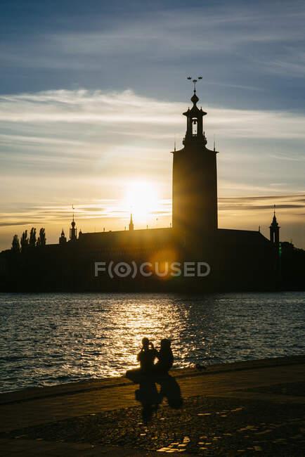 Захід сонця над Стокгольмом — стокове фото