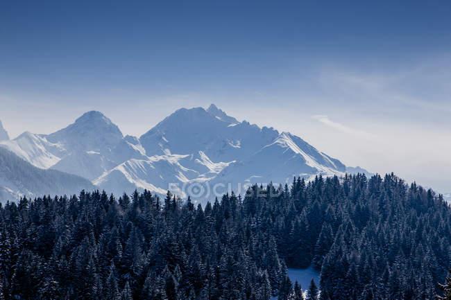 Snowcapped швейцарських Альпах піки під Синє небо — стокове фото