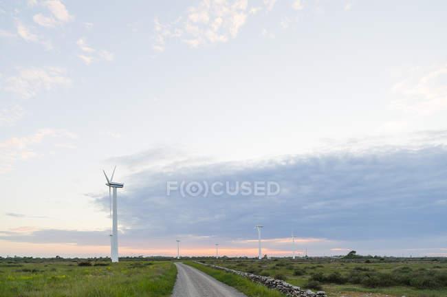 Ветряные турбины и сельская дорога под облачным небом заката — стоковое фото