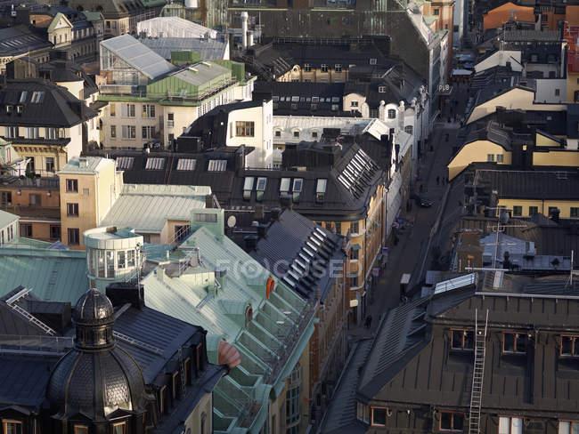 Erhöhter Blick auf die Dächer von Gebäuden in Stockholm — Stockfoto