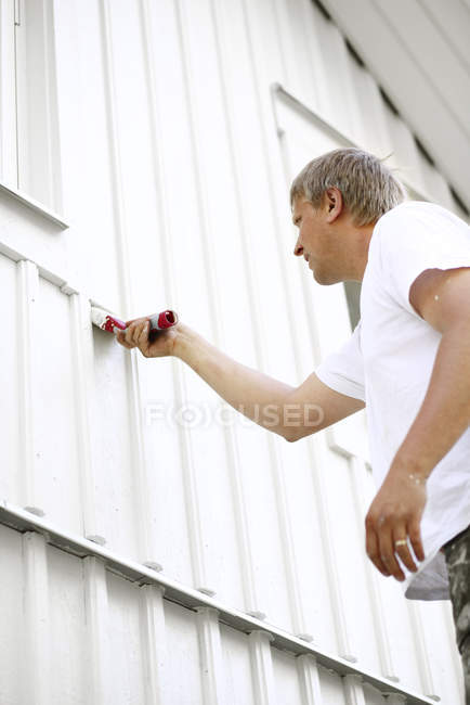 Low angle view of man painting wall with brush — home