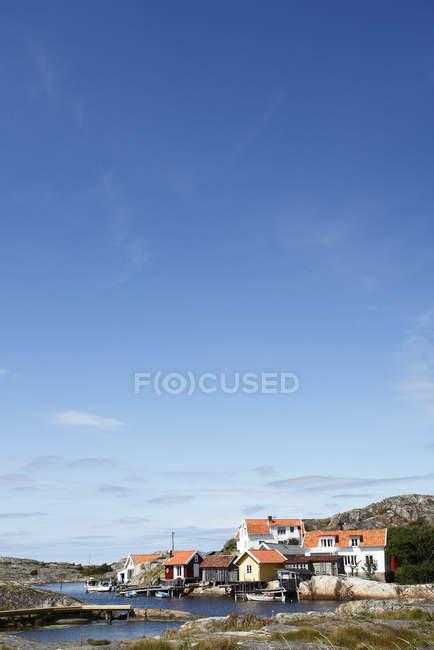 Vista das casas da aldeia de pesca — Fotografia de Stock