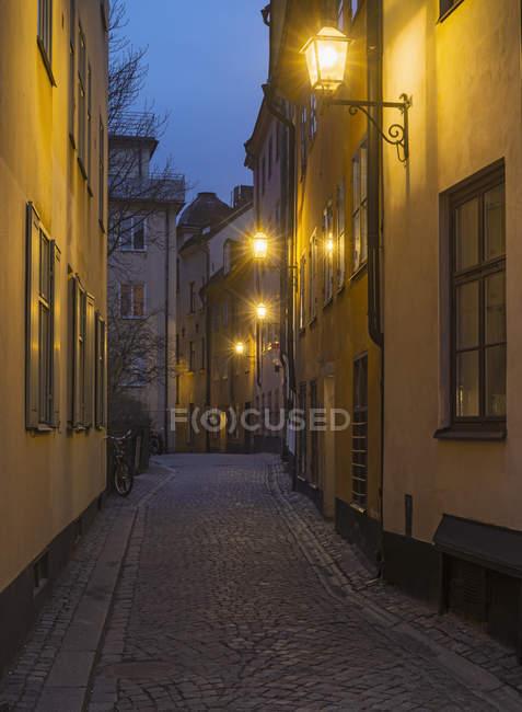 Дома с фонарями illumintating улица ночью — стоковое фото