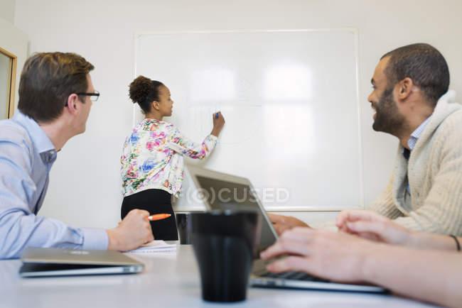 Женщина, презентации на деловой встрече в офисе — стоковое фото