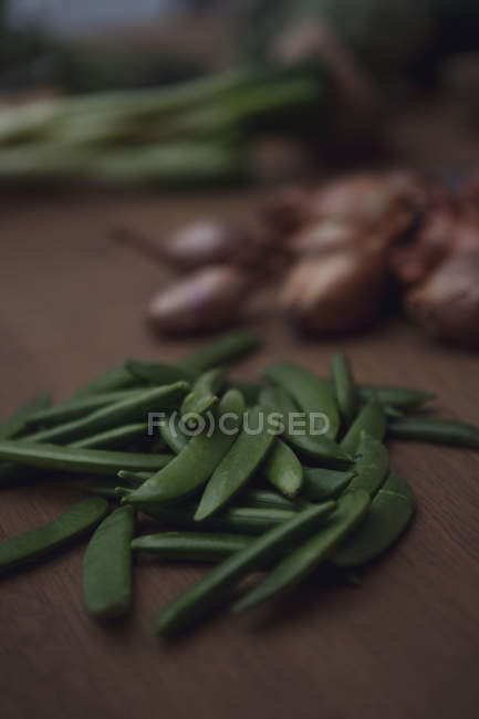 Close up shot of green beans table — Stock Photo