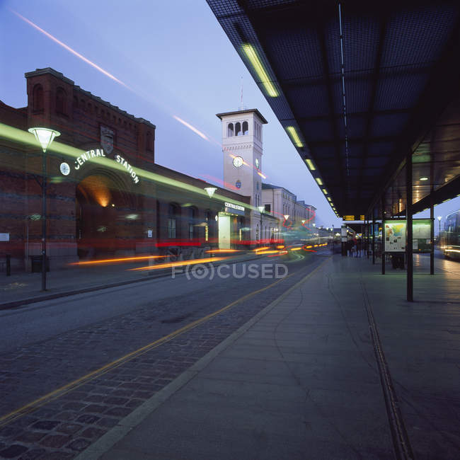 View of Malmo Central Station with light trails at night — Stock Photo