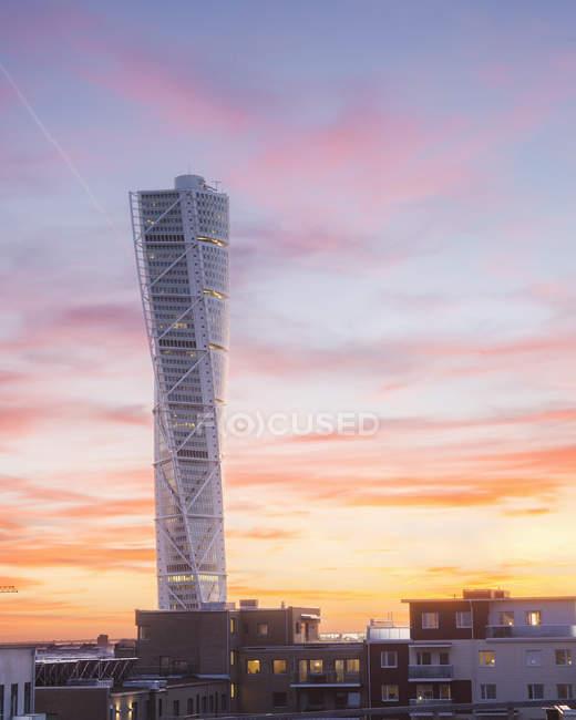 Turning Torso Turm Sonnenuntergang Himmel, Malmö — Stockfoto