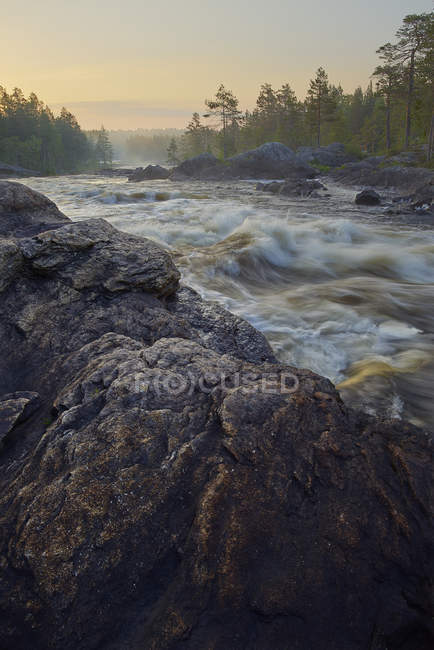 Rocks with flowing water of Hylstrommen waterfall — Stock Photo