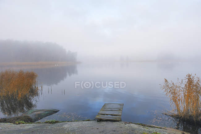 Fog over lake with small wooden pier — Stock Photo