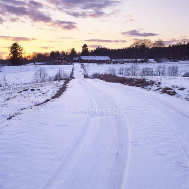 Estrada rural na neve cobriu paisagem — Fotografia de Stock