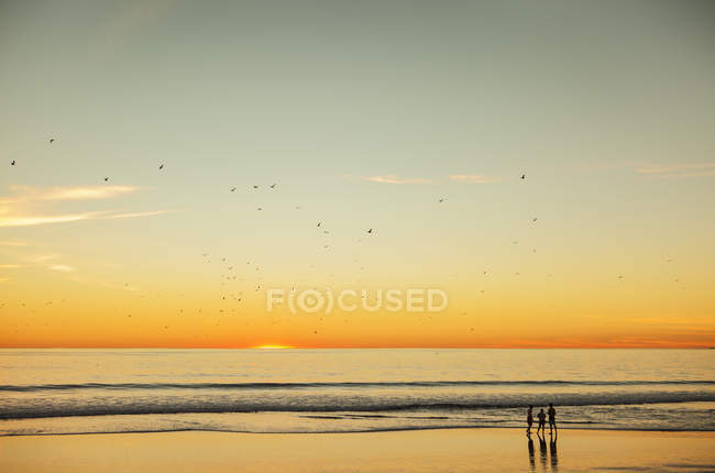Scenic view of sunset over sea and silhouettes of people — Stock Photo