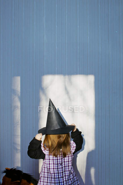 Girl wearing costume of witch, selective focus — Foto stock