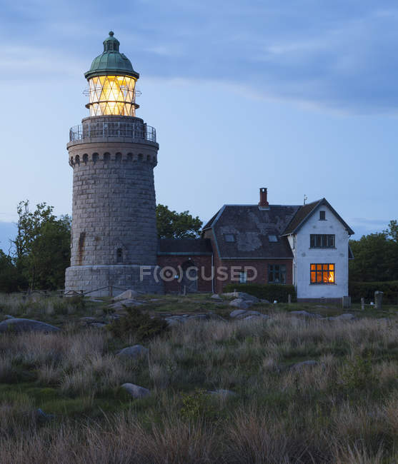 View of Hammeren Lighthouse illuminated at evening — Stock Photo