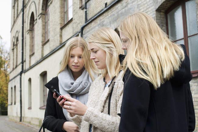 Atractivas mujeres jóvenes control de smartphone en el campus de la Universidad - foto de stock