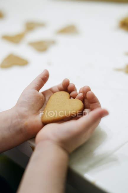 Coração em forma de cookie nas mãos de menina — Fotografia de Stock