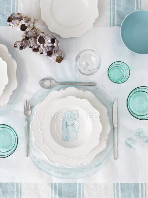 High angle view of table decorated in white and blue — Stock Photo