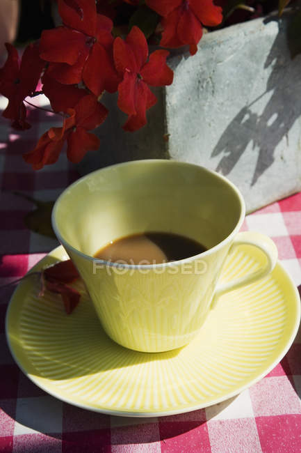 Close-up of coffee in yellow cup and red flowers — Stock Photo