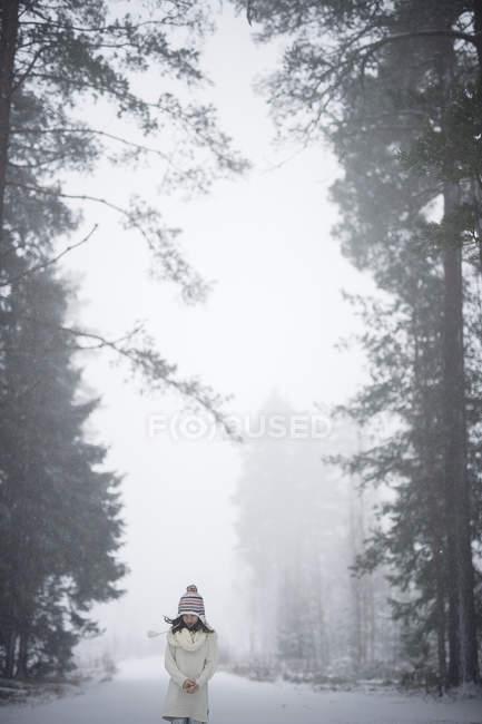 Mädchen im Winterwald, differenzierter Fokus — Stockfoto